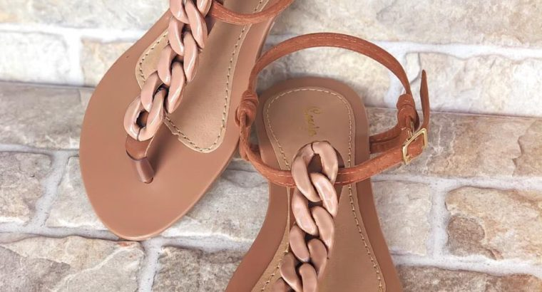 Chain Nude Sandals Size 6