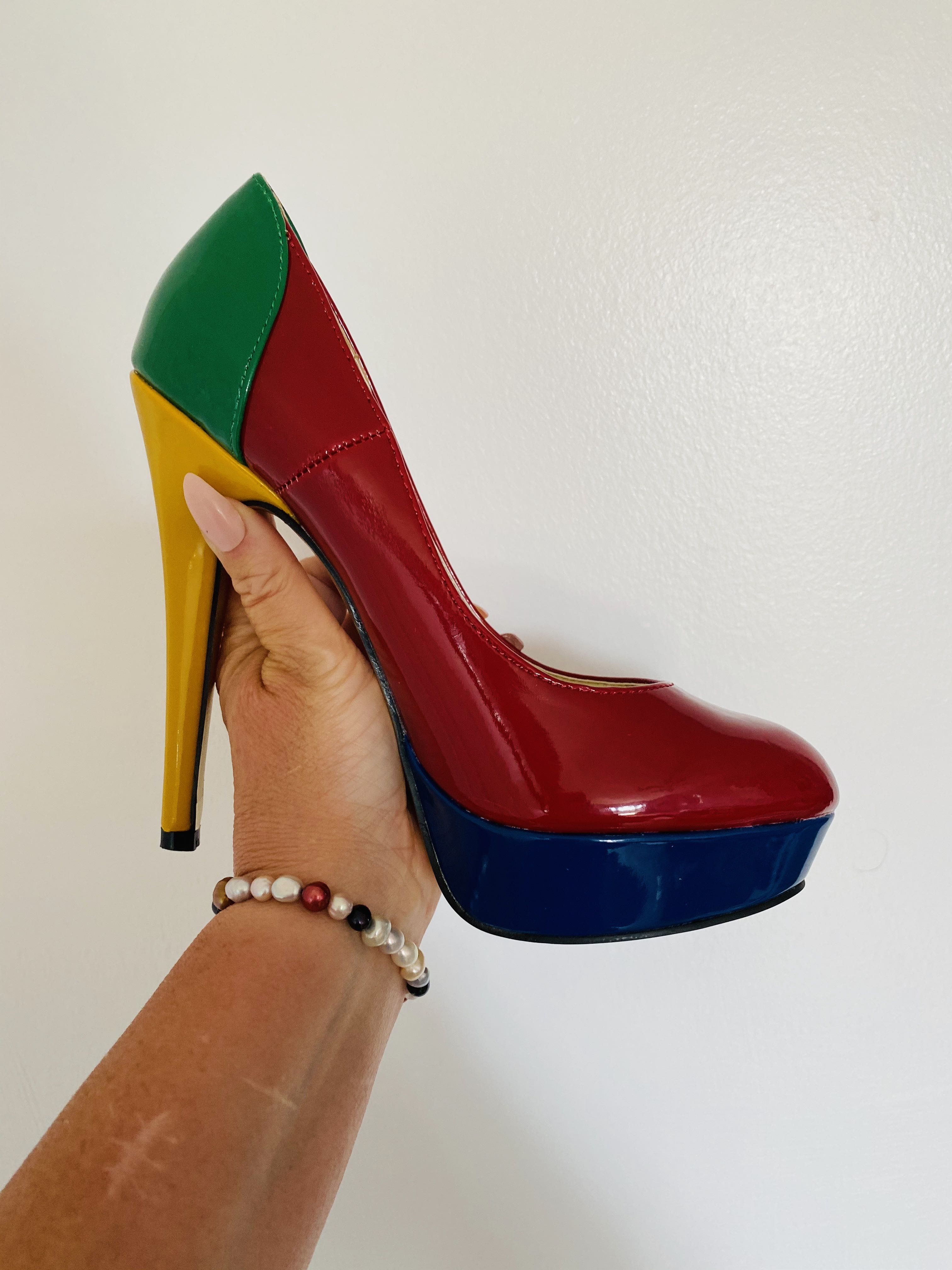 women's multicoloured platform heels shoes by like you size 4