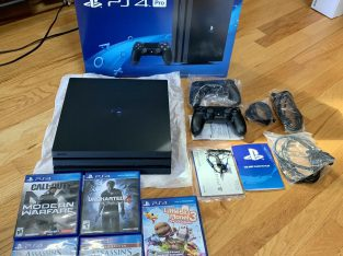 Sony Playstation PS4 Pro 1TB Black Console w/ 5 Games 2 Controllers
